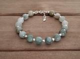 Healing Bracelet - Green Jasper - Sterling Silver - 7-8 inches - 8 mm beads