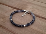 Healing Bracelet - Iolite - Power - Inner Strength - Leadership - Self-confidence - Sterling Silver - 6.5-7.5 inches