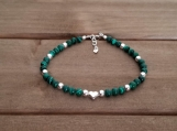 Healing Bracelet - Malachite - Calming - Loyalty - Leadership - Protection - Wisdom - Comfort - Balance - Peace - Sterling Silver 7-8 inches