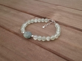 Healing Bracelet - Prehnite - Truth - Calmness - Sincerity - Sensitivity - Sterling Silver - 7-8 inches - 6 mm beads