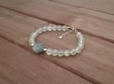 Healing Bracelet - Prehnite - Truth - Calmness - Sincerity - Sensitivity - Sterling Silver - 7-8 inches - 6 mm beads