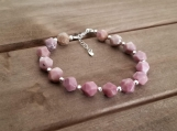 Healing Bracelet - Rhodochrosite - Comfort - Harmony - Friendship - Compassion - Self-love - Sterling Silver - 8 mm beads - 7-8 inches