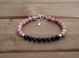 Healing Bracelet - Rhodonite - Sterling Silver - 7-8 inches - 6 mm beads