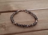 Healing Bracelet - Smokey Quartz - Serenity - Calmness - Positive thoughts - Stability - Rose Gold Filled - 7 inches - 6 mm beads