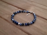 Healing Bracelet - Sodalite - Logic - Intelligence - Emotional balance - Intuition - Clarity - Sterling Silver - 7-8 inches - 6 mm beads