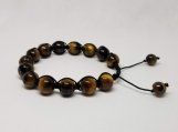 Healing Bracelet - Tiger eye - Adjustable Length 7.5-9.5 inches - 10 mm beads