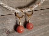 Earrings - Carnelian - Stainless Steel - Golden - 10 mm beads