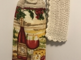 Kitchen Tea Towel Topper (wine bottle and glass)