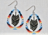 Native American Inspired Wolf Head Earrings