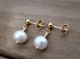 Pearl Earrings, 9 mm Natural Cultured Freshwater Pearls, Stainless Steel, Golden, Bridesmaid Earrings, gifts for girls
