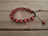 Root Chakra Bracelet - Red Jasper - Adjustable Length 7-9 inches - 8 mm beads