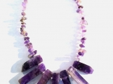 Striking Amethyst Necklace with Graduated Gemstone Center