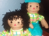 "20"" Caramel Raggedy Ann & Andy Handmade Dolls with Black hair"