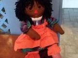 """20"""" Ebony Raggedy Ann Handmade Doll with Black hair"""
