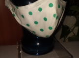 Face Mask- 1 adult Green Dots, Reusable, Double layered