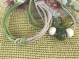 Friendship Bracelets - Green and Beige Suede