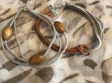 Friendship Bracelets - Grey Suede and Brown Leather