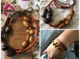 Friendship Bracelets Orange and Brown Suede