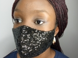 Glittering Soft Sequin Face mask - Black