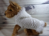 Hand crocheted, hooded, small/medium dog sweater, faux fur,
