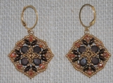 Hand-Stitched Bronze earrings with Crystal