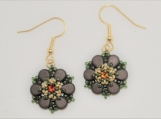 Hand-Stitched Floral Earrings with Crystal