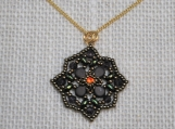 Hand-Stitched Floral Pendant with Crystal