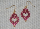 Hand-Stitched Pink Crystal and Pearl Dangles