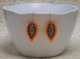 Hand Stitched Russian Leaf Earrings - Autumn Leaves