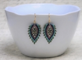 Hand Stitched Russian Leaf Earrings - Jewel Tones