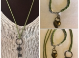 Key Pendant and charm bracelet Green Suede
