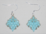 Light Aqua Hand-Stitched Drop Earrings