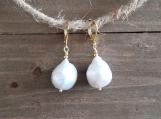 Natural Baroque Pearls, Dangle & Drop Earrings, Stainless Steel,