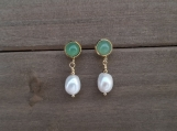 Natural Cultured Freshwater Pearls + Green Aventurine, Dangle &