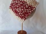 Red and White Seed Stitch Headband
