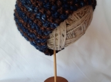 Navy and Brown Seed Stitch Headband