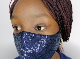 Sequin Face mask - Navy Blue
