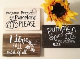 Set of 3 Wooden Signs | Autumn Quotes | 3 Wood Colours