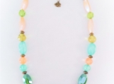 Striking Colorful Ceramic, Glass, Stone & Acrylic Bead Necklace