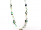Striking Necklace with Large Abalone Shell and Accent Stones