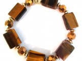 Striking Tiger Eye and Bronze Glass Rondelle Stretch Bracelet