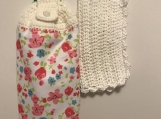Tea Towel Pink/blue flowers white topper