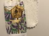 Tea Towel Topper Bird house Purple Flowers (white topper)
