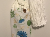 Tea Towel Topper Blue Flowers/Trees in pots (White topper)