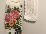 Tea Towel Topper Hummingbird/ pink Flowers White topper