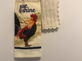 Tea Towel Topper Rise/Shine Rooster (off white topper)