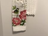Tea Towel Topper White  (Pink Flowers/Green Bird)