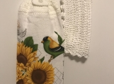 Tea Towel topper white (Sunflowers and bird)
