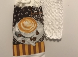 Tea Towel Topper with Cappuccino and coffee beans (white topper)