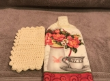 Tea Towel Topper with flowers in vase (cream topper)